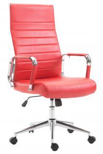 Chefsessel Kunstleder rot Bürostuhl modern design hochwertig geschwungen neu