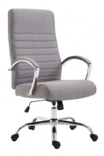XL Bürostuhl bis 136 kg belastbar Stoffbezug hellgrau Chefsessel hochwertig