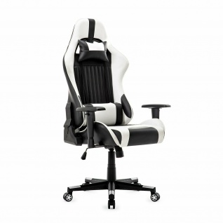 XL Bürostuhl 150kg belastbar weiß/schwarz Kunstleder Chefsessel Drehstuhl stabil