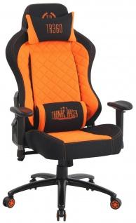 XL Bürostuhl 150 kg belastbar schwarz orange Stoffbezug Chefsessel Gaming Zocker