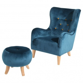 Retro Sessel + Hocker Relaxsessel Wohnzimmersessel Fernsehsessel Vintage design