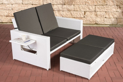 Poly-Rattan 2er Lounge-Sofa weiß Gartensofa Couch Lounge Terrasse Outdoor neu