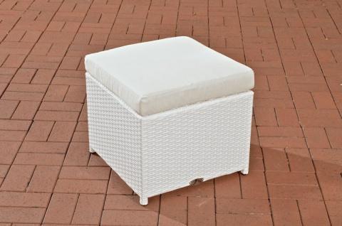 Polyrattan Garten Hocker weiß inkl. Kissen Auflage Lounge Garten Terrasse