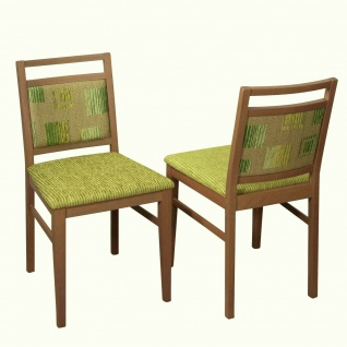 2 x Esszimmerstühle Kernnuss grün beige massivholz Polsterstuhl Stuhlset modern