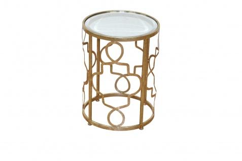 Beistelltisch goldfarben Antik-Look Metalltisch Glastisch Tisch Couchtisch rund