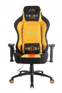 Chefsessel schwarz/gelb Bürostuhl Wärme- und Massagefunktion Gaming Zockersessel