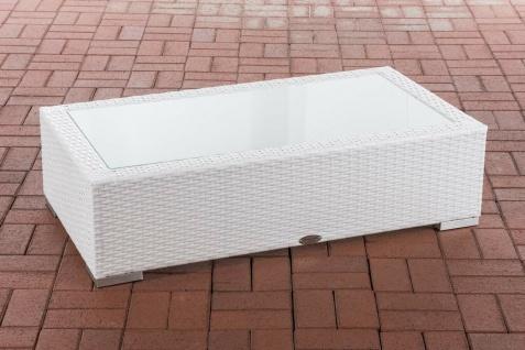 Tisch weiß 110x60cm Gartentisch Loungetisch Rattantisch Glastisch flach Outdoor