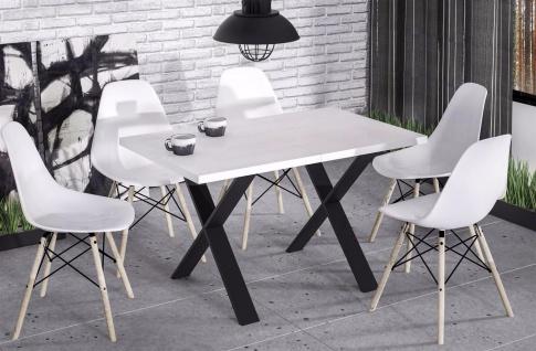 hochwertiger Esstisch Hochglanz weiß Esszimmertisch Küche Metallgestell design
