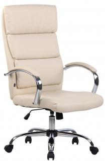 Bürostuhl 136 kg belastbar creme Kunstleder Chefsessel hohe Rückenlehne NEU