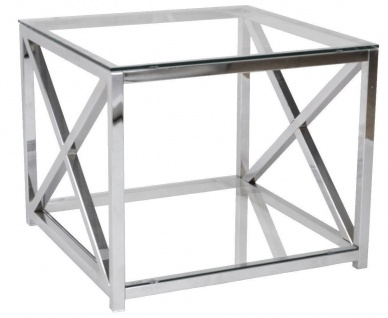Beistelltisch Metall Chrom Glas 60x60x50 cm Glastisch Sofatisch Couchtisch neu