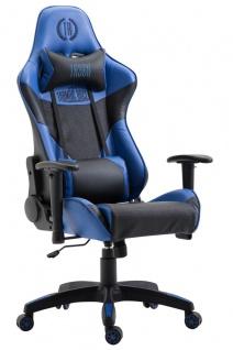 XL Racing Bürostuhl 136kg belastbar Kunstleder schwarz blau Chefsessel Zocker