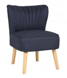 Lounger Stoffbezug blau Sessel Retro-Stil Vintage Loungesessel Holzbeine NEU