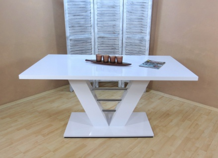 Säulentisch Hochglanz weiß 160x90x75 Esstisch Esszimmertisch Holztisch design