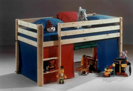 Hochbett Buche natur massiv Stockbett mit Rutsche Holzbett Kinderbett Spielbett