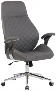 Chefsessel Echtleder grau 150kg belastbar Drehstuhl Bürostuhl modern design NEU