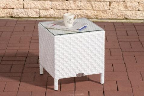 Polyrattan Garten Beistelltisch weiß Lounge Glastisch Balkon Terrasse Beitisch