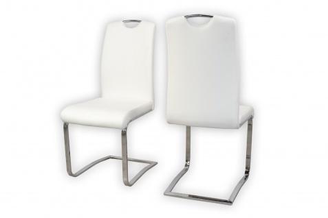 2er Set Stühle weiß Kunstleder Schwinger Schwingstuhl Esszimmer modern design