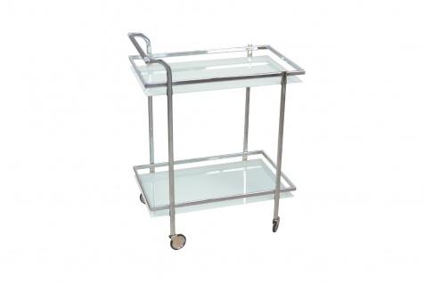 Servierwagen Glas Chrom Küche Beistelltisch Getränkewagen rollbar modern design