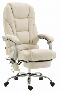 XL Bürostuhl 150 kg belastbar creme Stoffbezug Chefsessel Massagefunktion stabil