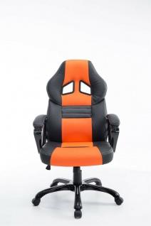 XL Bürostuhl 150 kg belastbar schwarz orange Kunstleder Chefsessel hochwertig - Vorschau 2