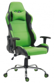 XL Bürostuhl 136 kg belastbar Kunstleder schwarz grün Chefsessel Gamer Zocker