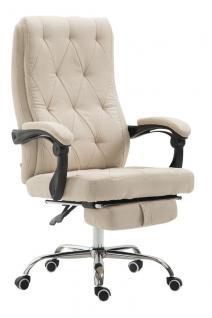 Chefsessel 136 kg belastbar creme Stoff Bürostuhl Fußablage modern design stabil