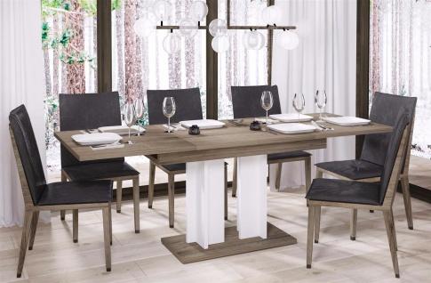 design Säulentisch San Remo Trüffel weiß ausziehbar 130-210 Esstisch zweifarbig
