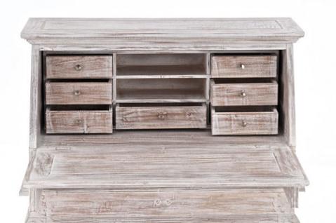 Sekretär Used Look Weiß Kolonialstil Mahagoni Holz Schreibtisch Kommode Antik