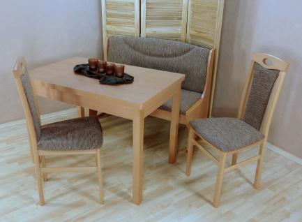 Sitzbankgruppe mit Truhe massiv Buche natur Cappuccino Sitzbank Stühle Tisch neu