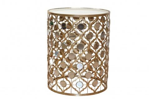 Glastisch Goldfarben Tisch Beistelltisch Couchtisch Glasplatte antik Spiegel - Vorschau 2