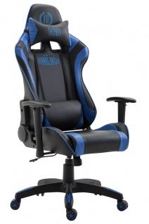 XL Bürostuhl 136 kg belastbar schwarz blau Kunstleder Chefsessel hochwertig