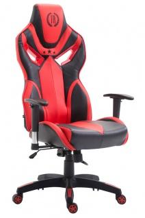 Bürostuhl 150 kg belastbar schwarz rot Kunstleder Chefsessel Zockerstuhl Gaming