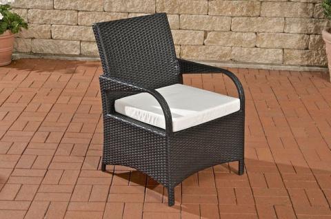 Polyrattan Gartenstuhl schwarz inkl. Kissen Auflage Gartensessel Rückenlehne neu
