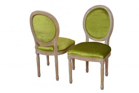 Polsterstuhl Vintage massivholz Samtbezug grün Esszimmerstuhl antik design neu