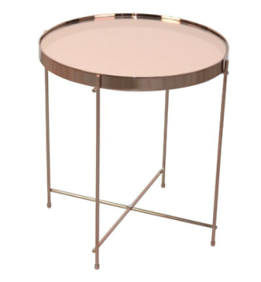 moderner Beistelltisch Rosegold rund Glastisch Couchtisch design Sofatisch NEU