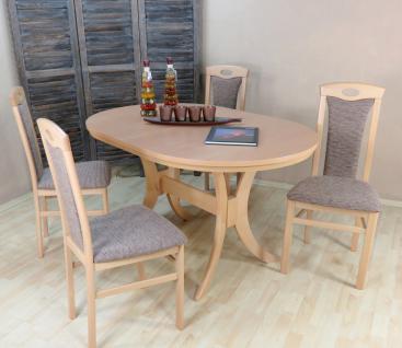 moderne Tischgruppe Buche massiv Buche natur Cappuccino Tisch günstig preiswert