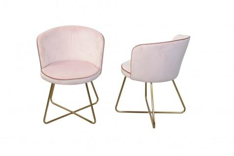 2x Polsterstühle rosé/gold Samtbezug Esszimmerstühle Stuhlset modern design