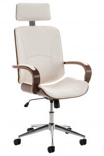 Bürostuhl 130 kg belastbar weiß Kunstleder Chefsessel Holzrahmen Drehstuhl