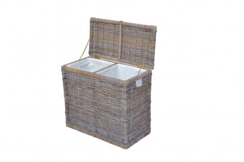 Wäschesortierer mit 2 Fächern Wäschekorb Wäschesammler Wäschetruhe grau Rattan