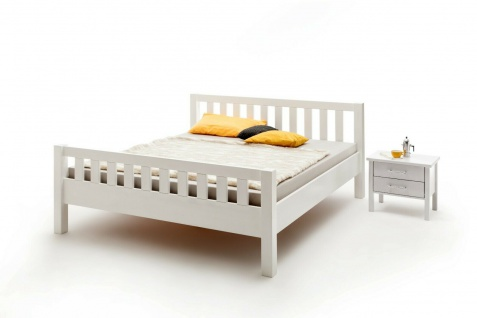 Komfortbett 140x200 Buche massivholz weiß lackiert Bett Doppelbett Ehebett