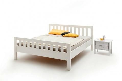 Komfortbett 180x200 Buche massivholz weiß lackiert Bett Doppelbett Ehebett neu