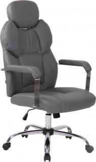 Bürostuhl 150kg belastbar Kunstleder grau Chefsessel Drehstuhl modern stabil