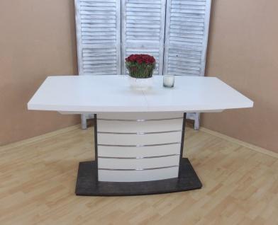 Säulentisch ausziehbar Esstisch Esszimmertisch Weiß Anthrazit modern design