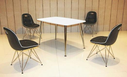 Tischgruppe schwarz/weiß Essgruppe Esszimmergruppe Schalenstuhl modern design C7