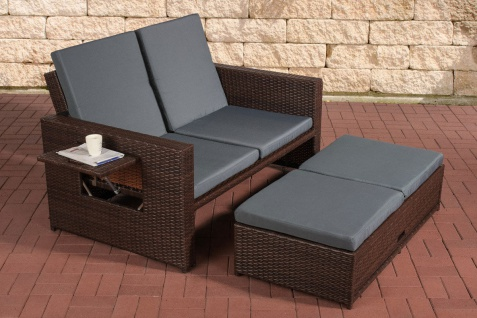 Poly-Rattan 2er Lounge-Sofa braun grau Gartensofa Couch Lounge Terrasse Outdoor
