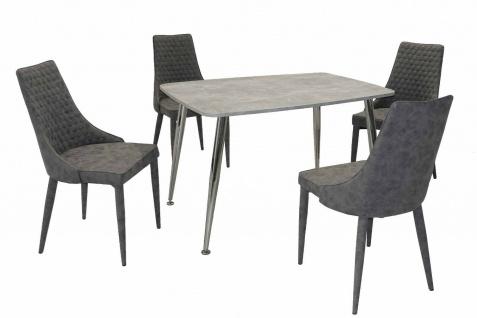 5 teilige Tischgruppe grau / Beton Essgruppe Esszimmergruppe modern design NEU