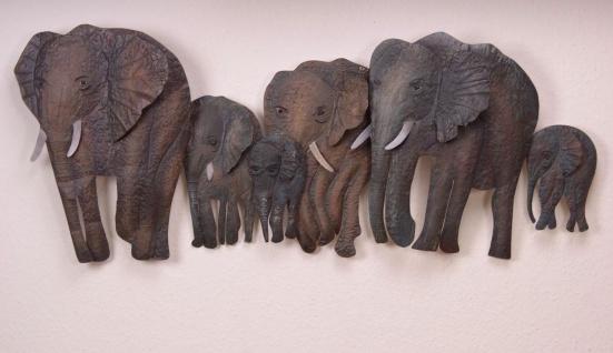 Wandrelief Wandbild Dekoration trendige Wanddeko Wand Deko 3D Metall Elefanten