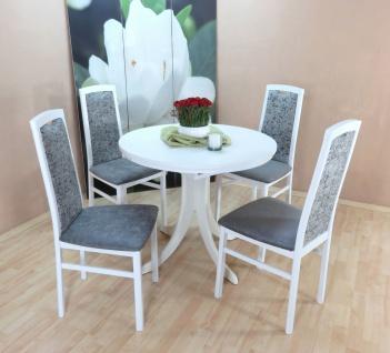 moderne Tischgruppe 5 teilig weiß graphit 2 x Stühle massiv Tisch rund design