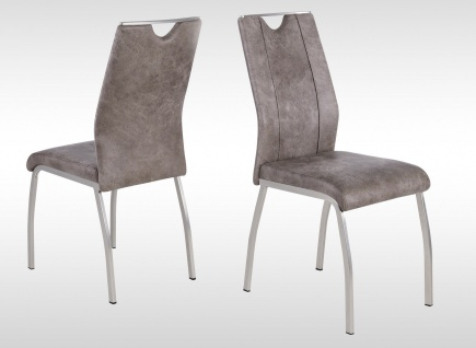 4 x Stühle hellbraun Kufe Edelstahl-Look Vintage Stuhlset Esszimmer Küche neu