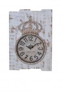 Wanduhr weiß Uhr massivholz antik vintage look nostalgie quarzlaufwerk Krone